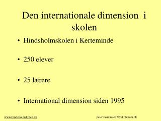 Den internationale dimension  i skolen