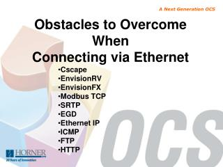 Obstacles to Overcome When Connecting via  Ethernet Cscape EnvisionRV EnvisionFX Modbus TCP SRTP