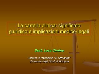 La cartella clinica: significato giuridico e implicazioni medico-legali