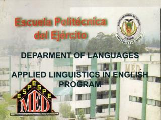 DEPARMENT OF LANGUAGES  APPLIED LINGUISTICS IN ENGLISH PROGRAM