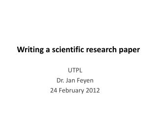 Writing a scientific research paper