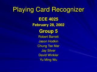 Playing Card Recognizer