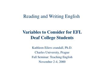 Reading and Writing English