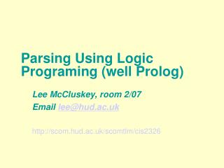 Parsing Using Logic Programing (well Prolog)