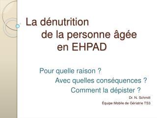 La d nutrition   de la personne  g e   en EHPAD
