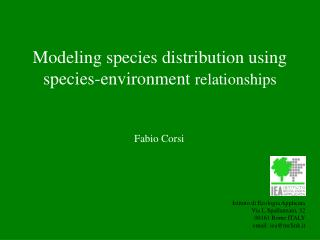 Modeling species distribution using species-environment  relationships