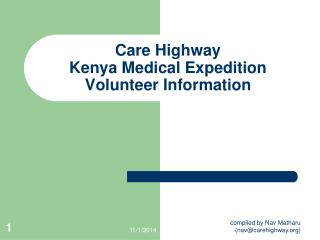 Care Highway  Kenya Medical Expedition Volunteer Information