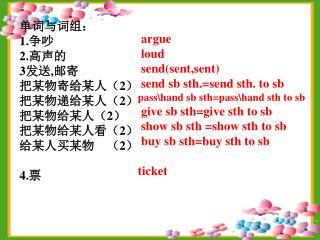 单词与词组: 1. 争吵 2. 高声的 3 发送 , 邮寄   把某物寄给某人( 2 ) 把某物递给某人( 2 ) 把某物给某人( 2 ) 把某物给某人看( 2 )
