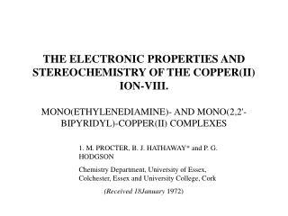 1. M. PROCTER, B. J. HATHAWAY* and P. G. HODGSON