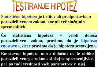 TESTIRANJE HIPOTEZ