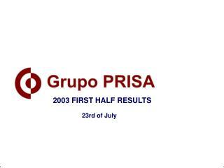2003 FIRST HALF RESULTS