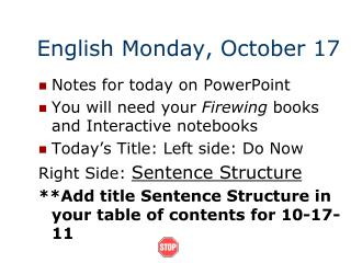 English Monday, October 17