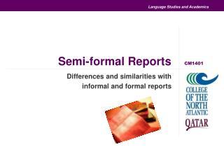 Semi-formal Reports