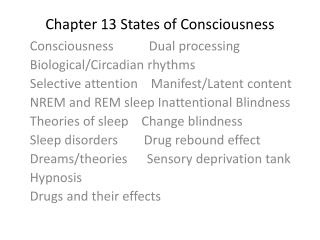 Chapter 13 States of Consciousness