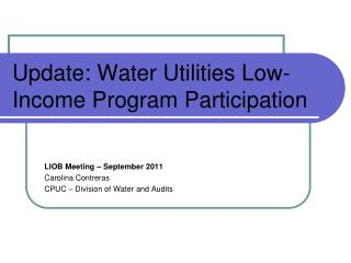Update: Water Utilities Low-Income Program Participation