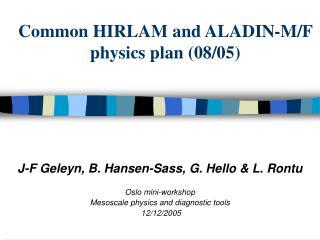 Common HIRLAM and ALADIN-M/F physics plan (08/05)