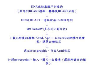 DNA 或胺基酸序列查詢 (某序列 BLAST 搜尋,轉譯後 BLAST 分析) ↓ DDBJ BLAST ,選取前面 15-20 個序列 ↓ 按 ClustalW( 多序列比對分析 )  ↓