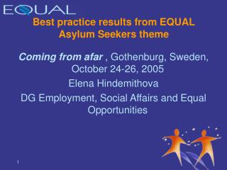 Best practice results from EQUAL Asylum Seekers theme