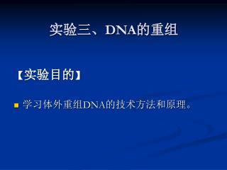 实验三、 DNA 的重组