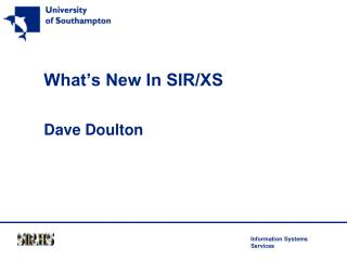 What's New In SIR/XS