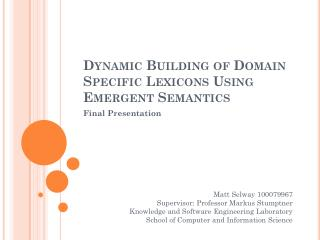 Dynamic Building of Domain Specific Lexicons Using Emergent Semantics