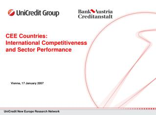 CEE Countries:  International Competitiveness  and Sector Performance