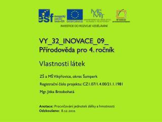 VY_32_INOVACE_09_ Přírodověda pro 4. ročník