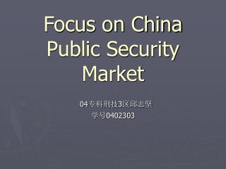 Focus on China Public Security Market