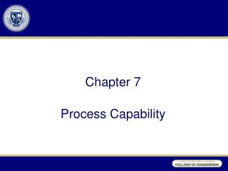 Chapter 7 Process Capability