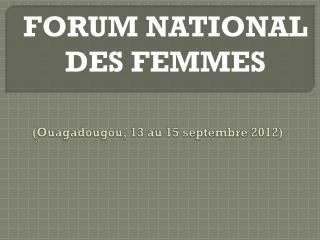 (Ouagadougou, 13 au 15 septembre 2012)