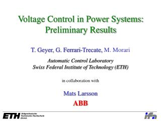Voltage Control in Power Systems: Preliminary Results