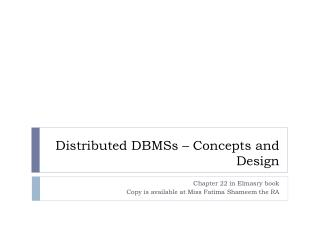 Distributed DBMSs � Concepts and Design