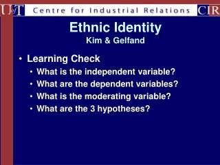 Ethnic Identity  Kim & Gelfand