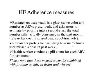 HF Adherence measures