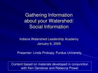 Gathering Information  about your Watershed: Social Information