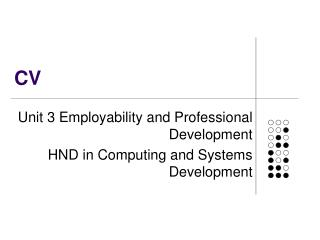 Unit 3 Employability and Professional Development HND in Computing and Systems Development