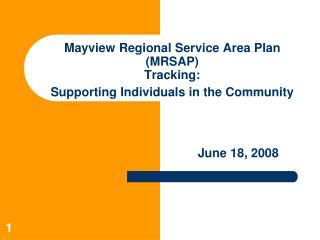 Mayview Regional Service Area Plan (MRSAP) Tracking: Supporting Individuals in the Community
