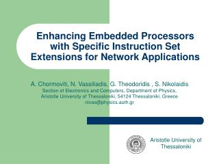 Enhancing Embedded Processors with Specific Instruction Set Extensions for Network Applications