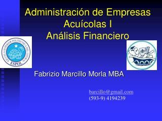 Administración de Empresas Acuícolas I Análisis Financiero