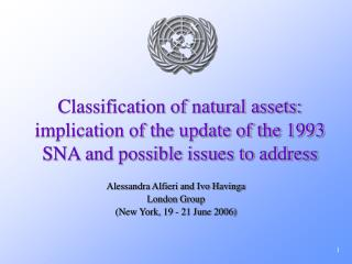 Classification of natural assets: implication of the update of the 1993 SNA and possible issues to address