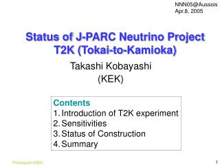 Status of J-PARC Neutrino Project T2K (Tokai-to-Kamioka)