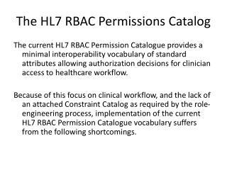 The HL7 RBAC Permissions Catalog