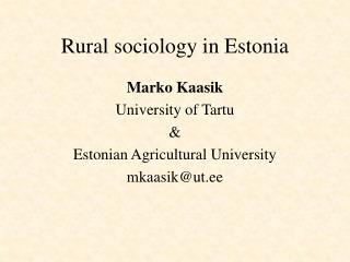 Rural sociology in Estonia
