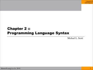 Chapter 2 ::  Programming Language Syntax