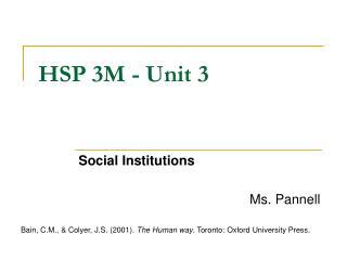 HSP 3M - Unit 3