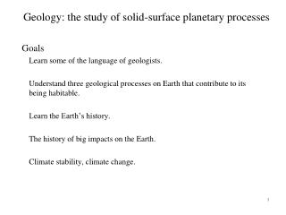 Geology: the study of solid-surface planetary processes