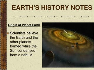 EARTH ' S HISTORY NOTES