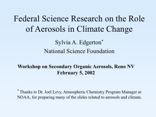 Federal Science Research on the Role of Aerosols in Climate Change