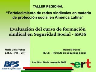 Evaluación del curso de formación sindical en Seguridad Social - SSOS