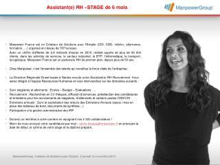 Assistant(e) RH –STAGE de 6 mois
